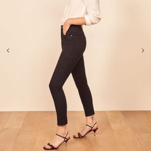 Reformation Serena high skinny crop black jeans 28